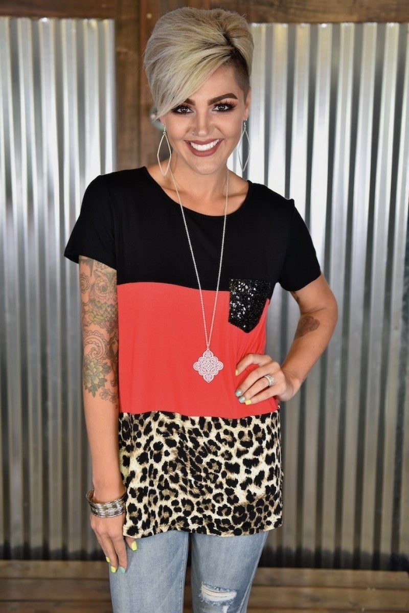 Red & Leopard Colorblock Top