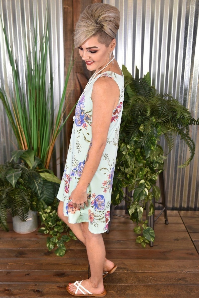 CLEARANCE Mint Floral Tank Dress with Pockets