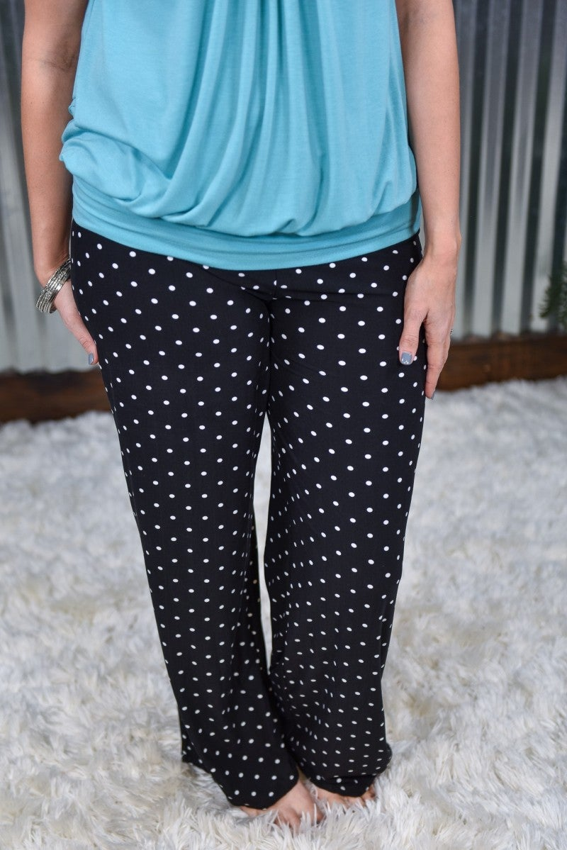 Black Polka Dot Pajama Pants