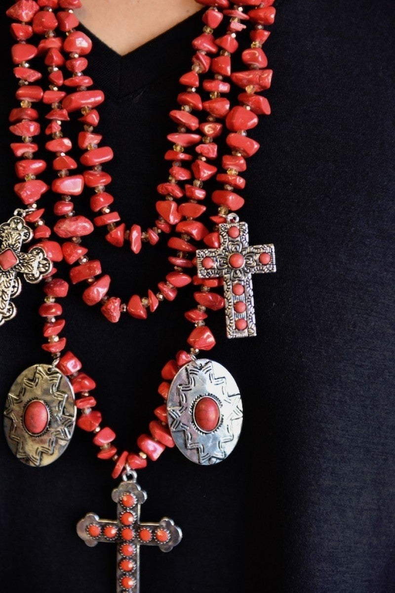 Red Chunky Cross Necklace