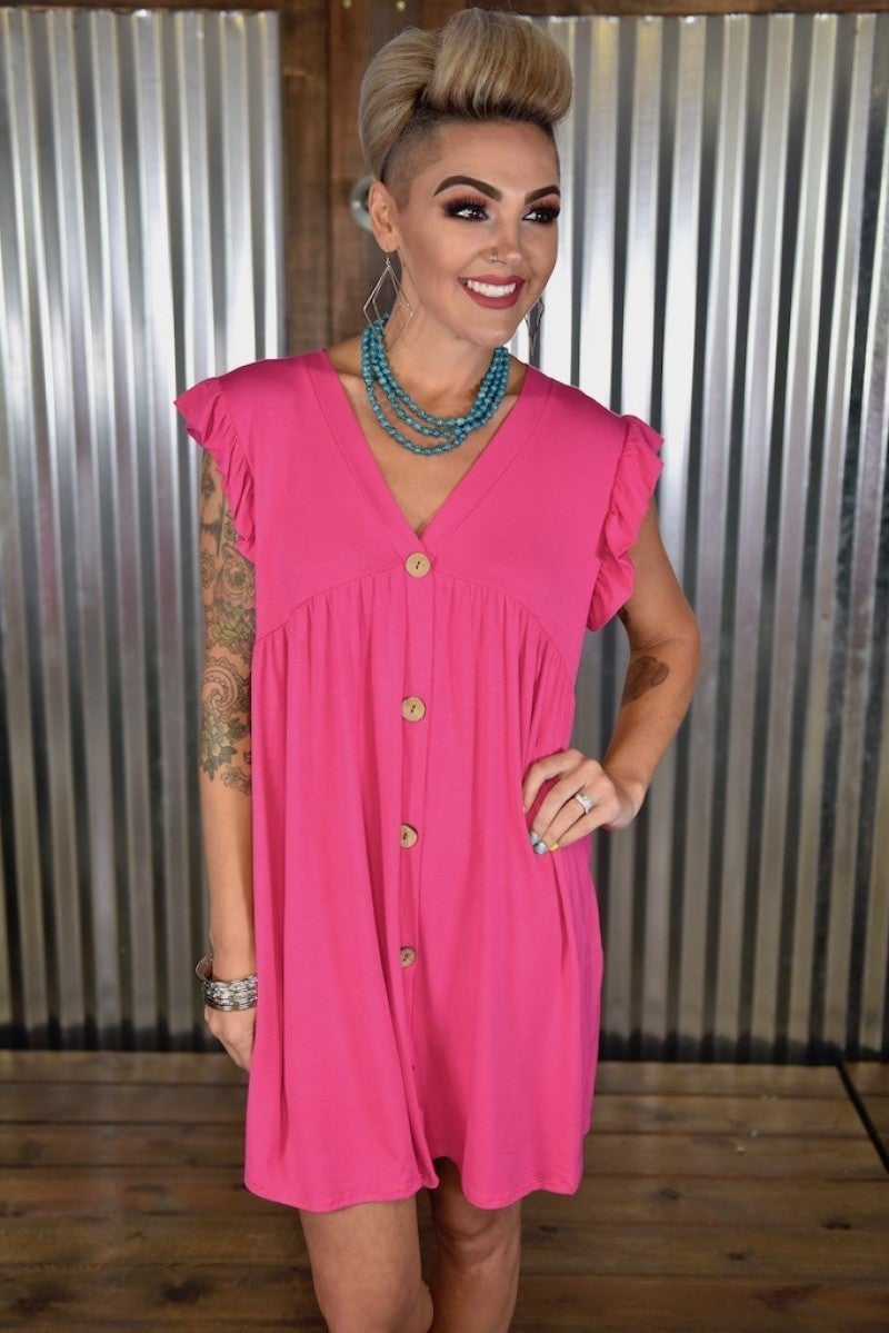 Hot Pink Faux Button Dress