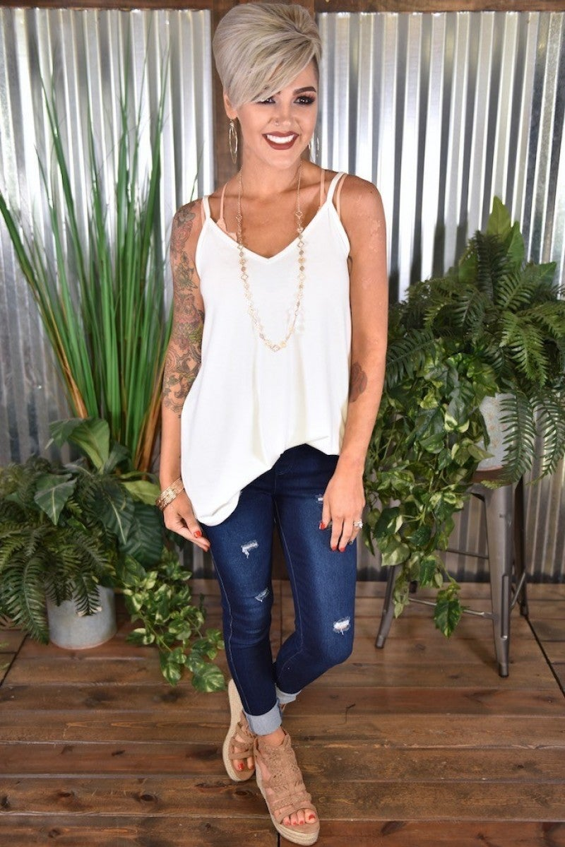CLEARANCE Dark Wash Distressed Denim Jeggings