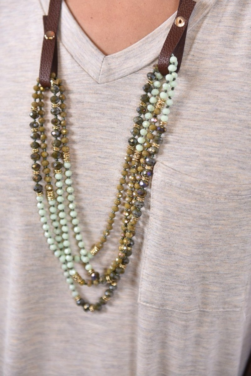 Olive Shimmering Beaded Necklace