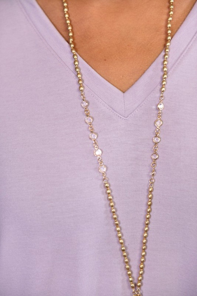 Gold Chain Teardrop Necklace