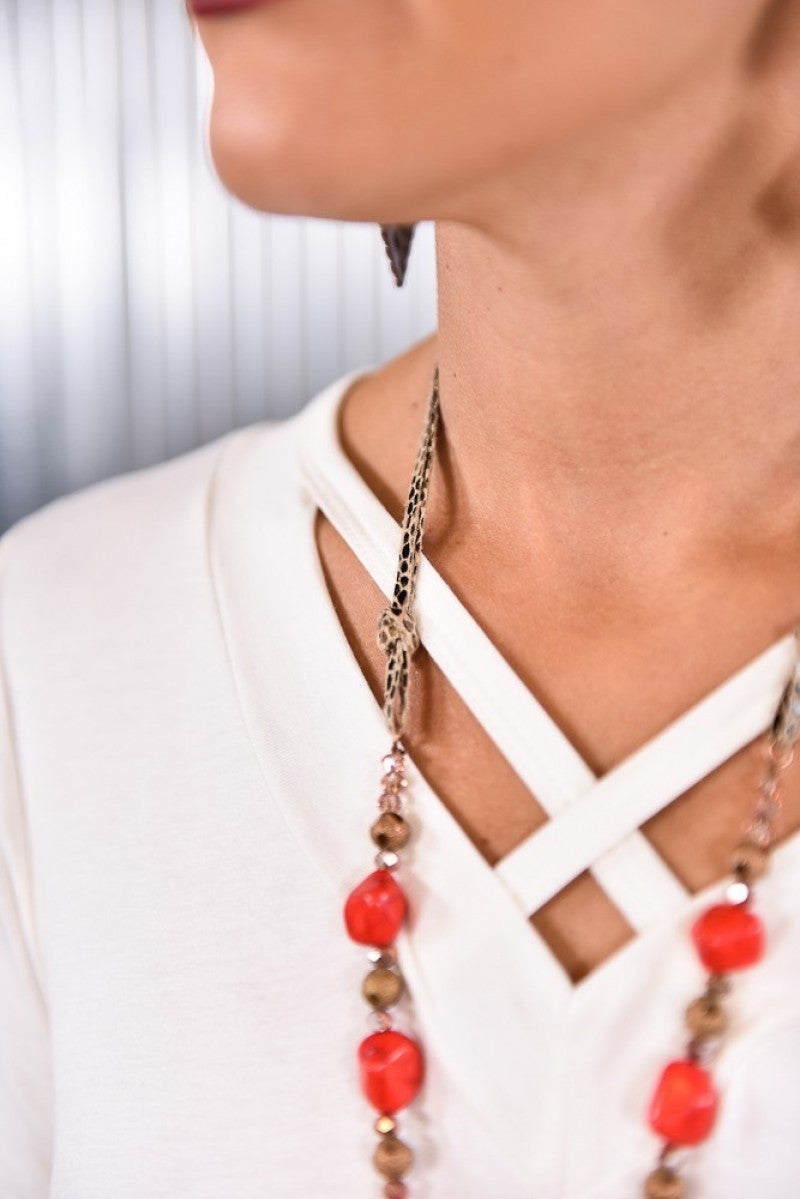 Red Rock The Look Snakeskin Tassel Necklace
