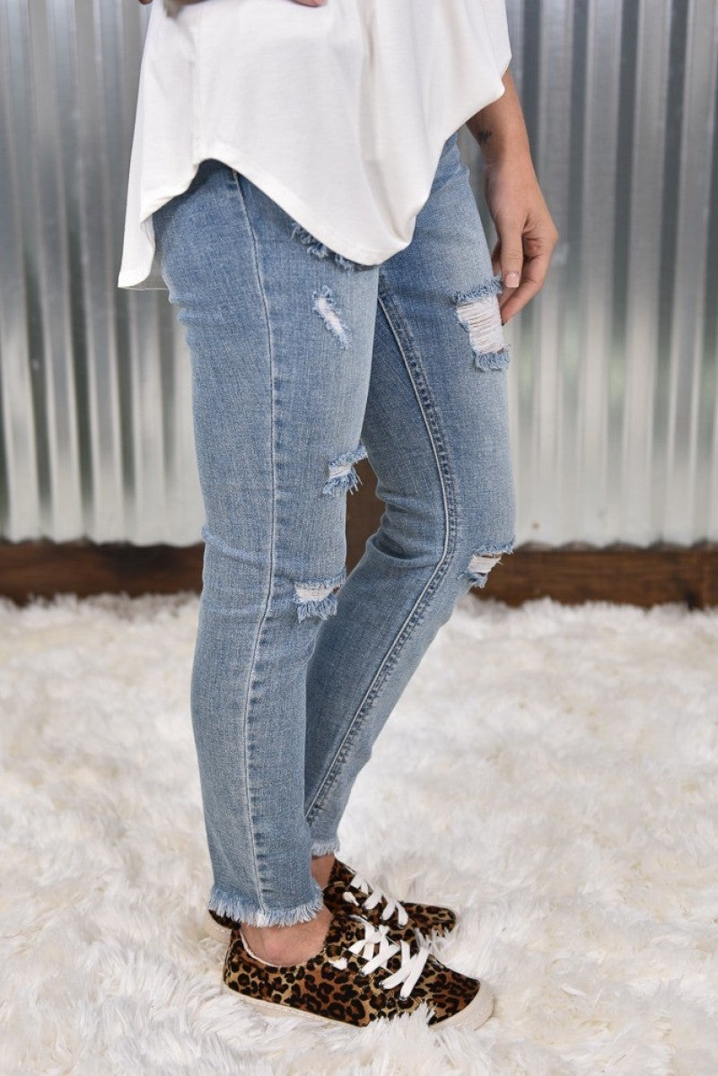 Cello Mid Rise Distress Crop Skinny Jeans