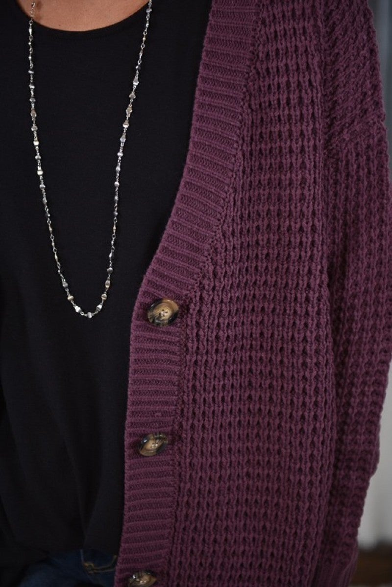 Eggplant Button Cardigan