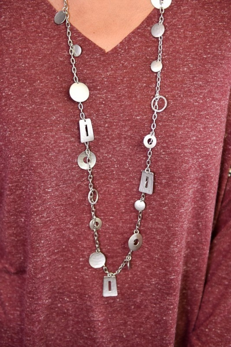 Silver Charm Long Necklace