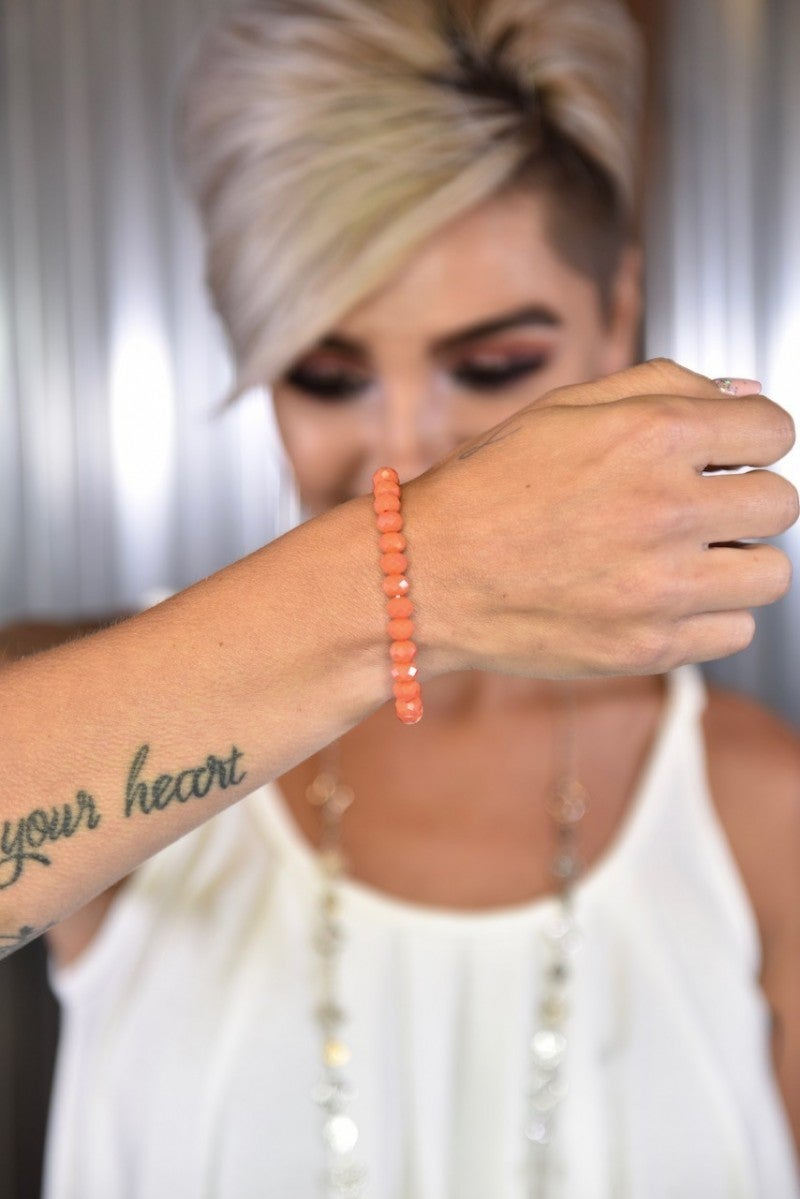 Iridescent Peach Essential Stretch Bracelet