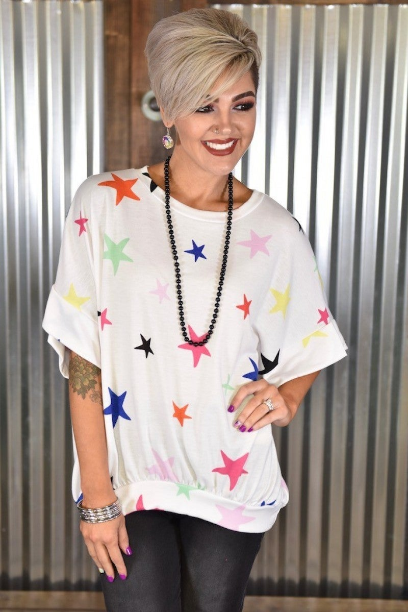CLEARANCE Off White Stars Loose Fit Top