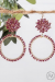 Plum Beaded Cluster Hoop Earrings