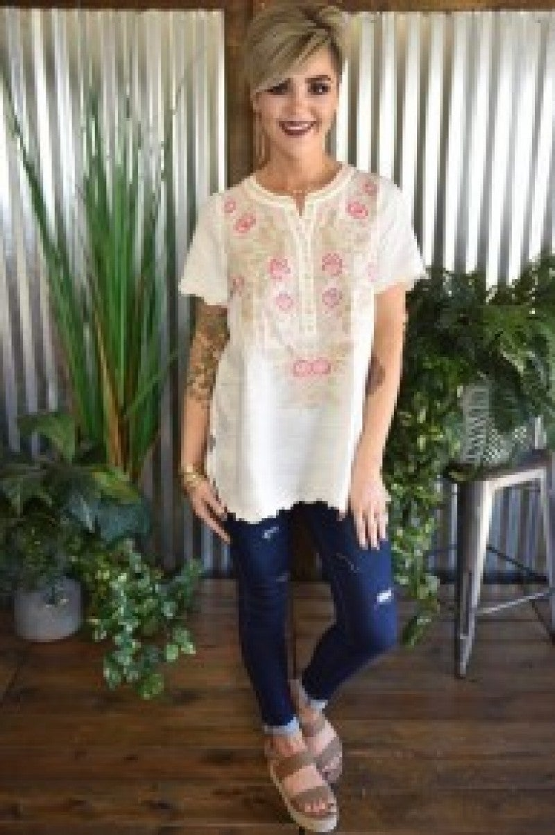 CLEARANCE Ivory Embroidered Scallop Botton Top