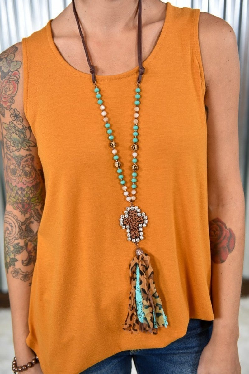 Turquoise Leopard Cross Necklace