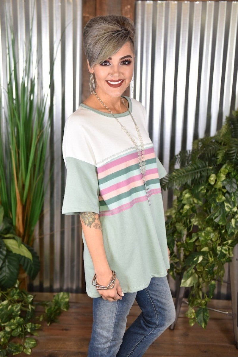 CLEARANCE Faded Sage Multi Color Stripe Top