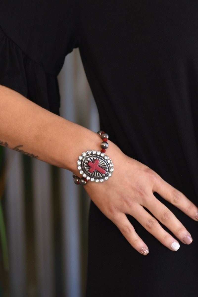 Red Cross Stretch Bracelet