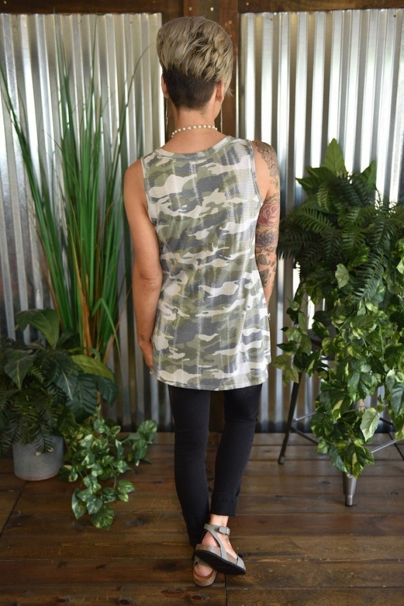 CLEARANCE Camo Criss Cross V Neck Tank