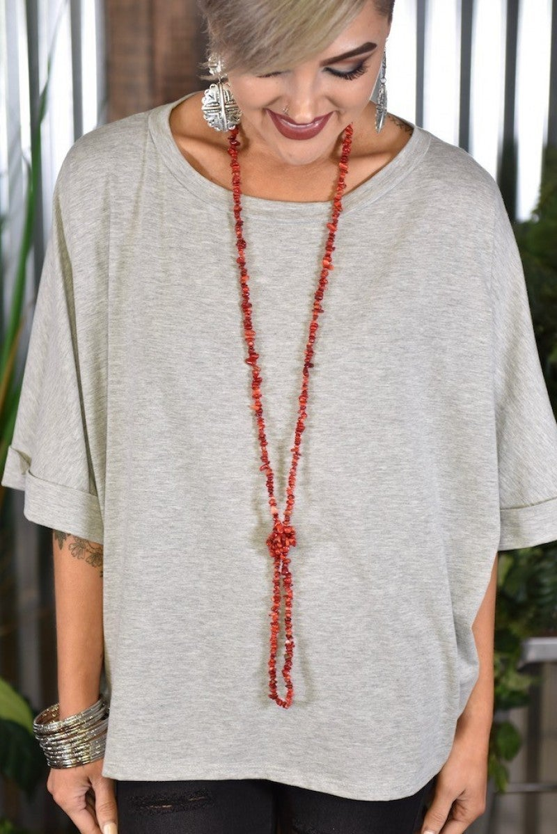 Coral Small Stone Double Wrap Necklace