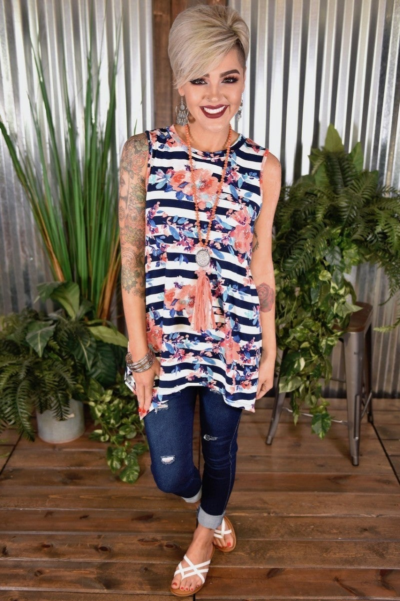 Navy Stripes & Floral Handkerchief Tunic