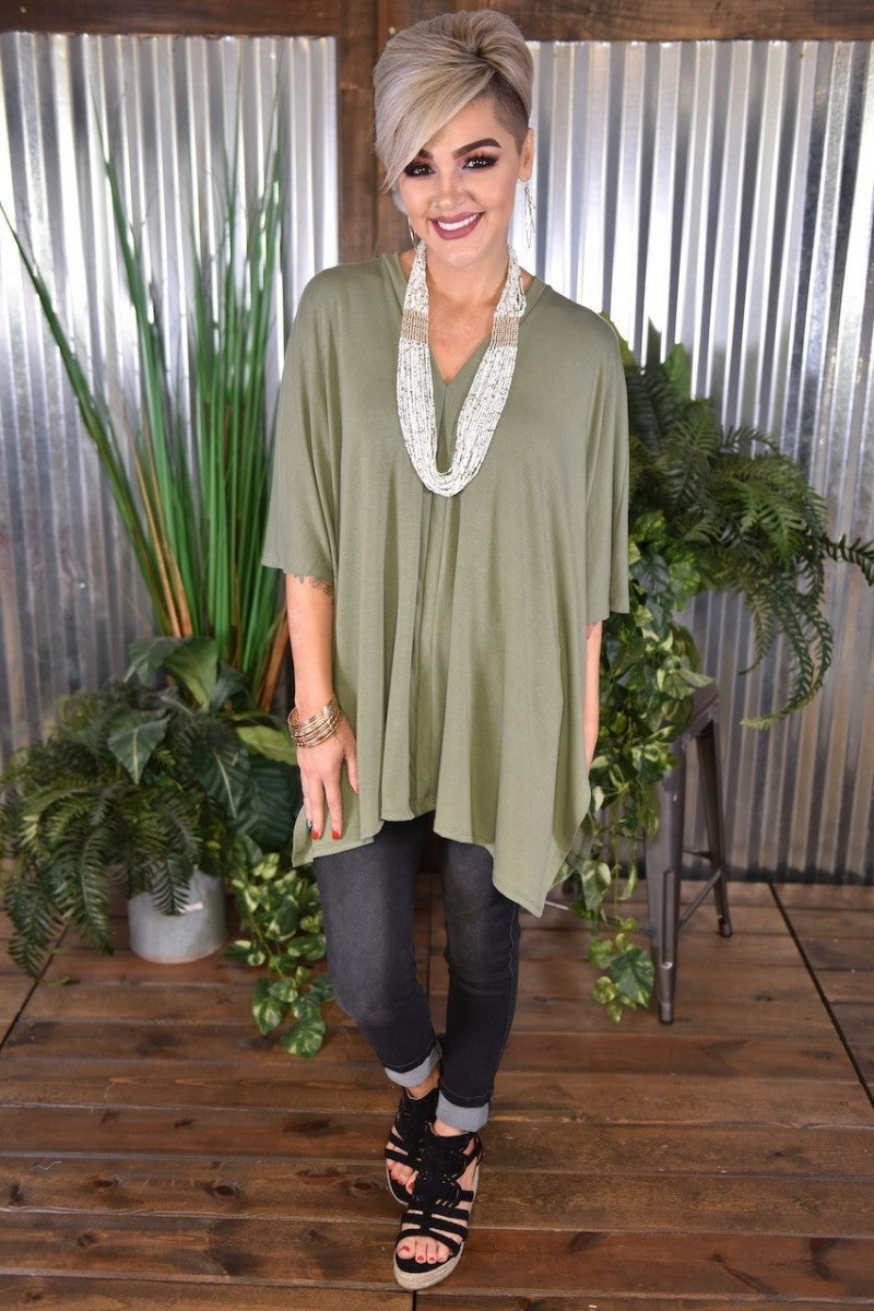 Light Olive Oversized Poncho