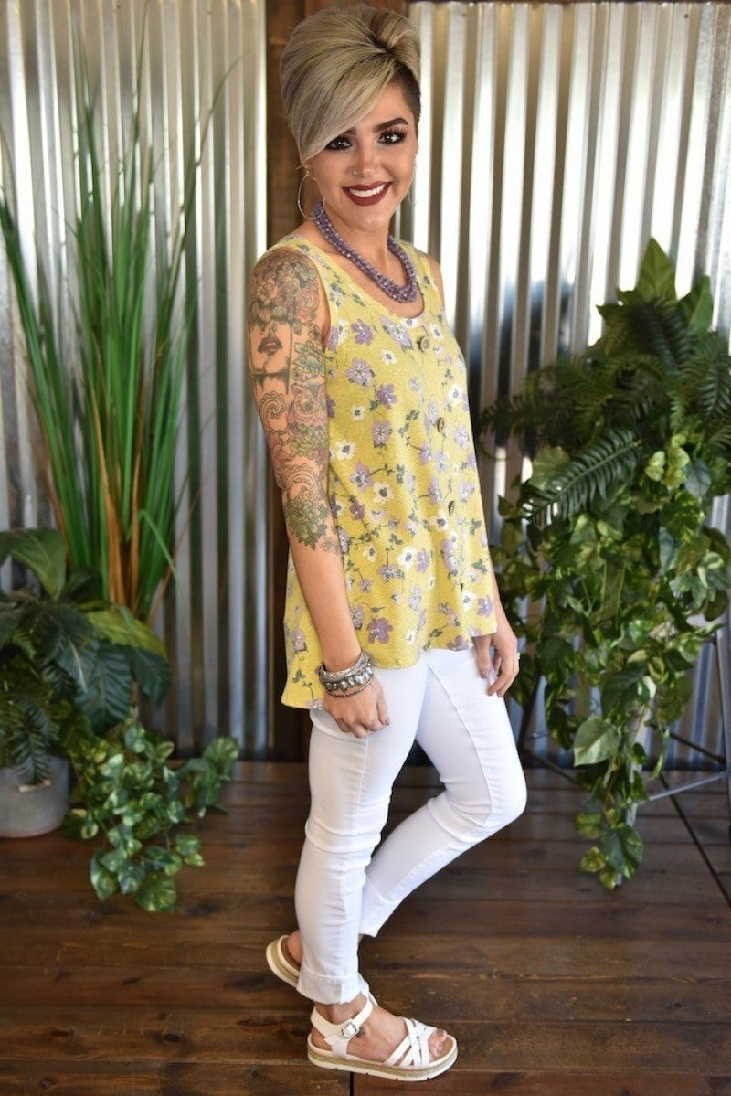 CLEARANCE Yellow Floral Button Tank