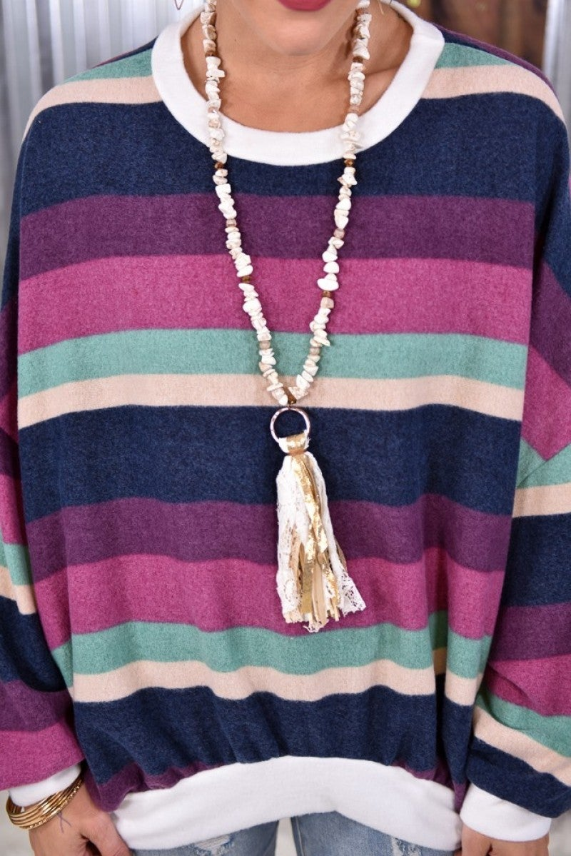Ivory Stone Tassel Necklace