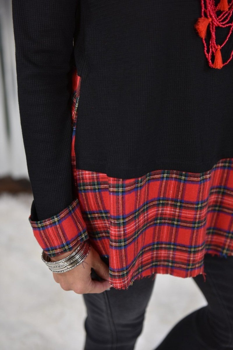 MacKenzie's Festive Red Plaid Hem Tunic