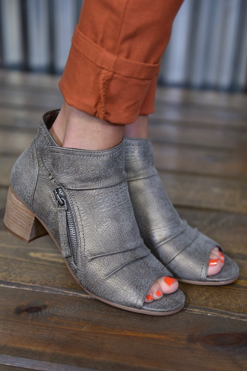 Grey Wonderlust Peep Toe Bootie