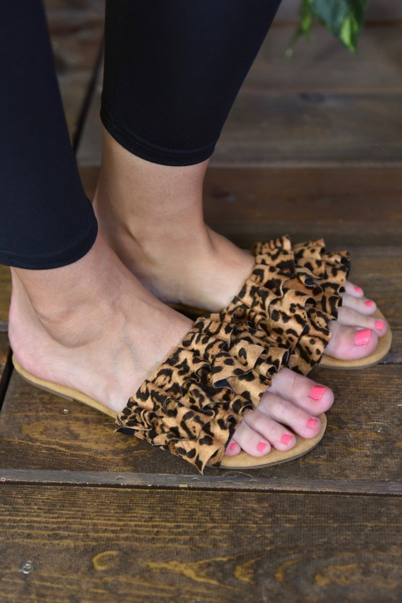 CLEARANCE Leopard Ruffle Sandals