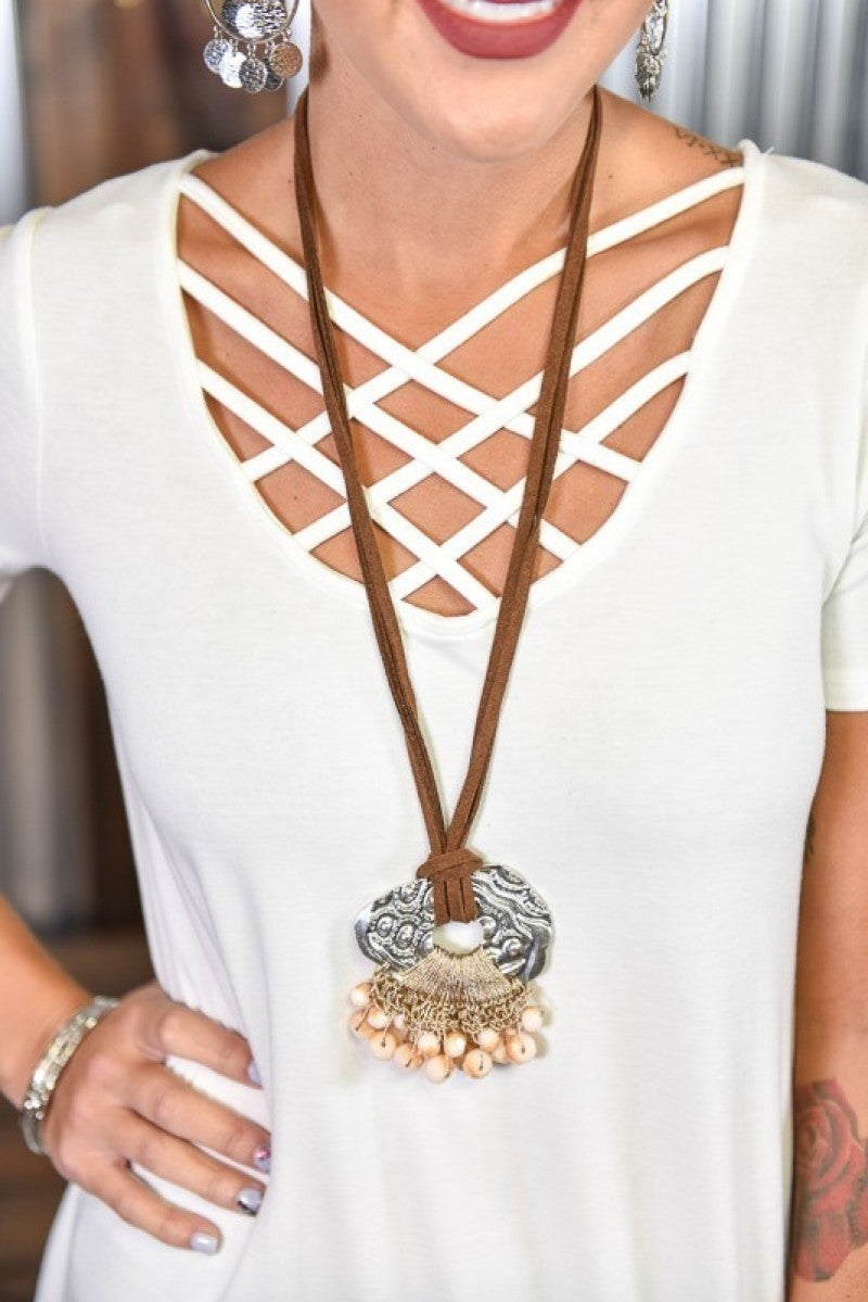 Brown & Silver Pendant Necklace