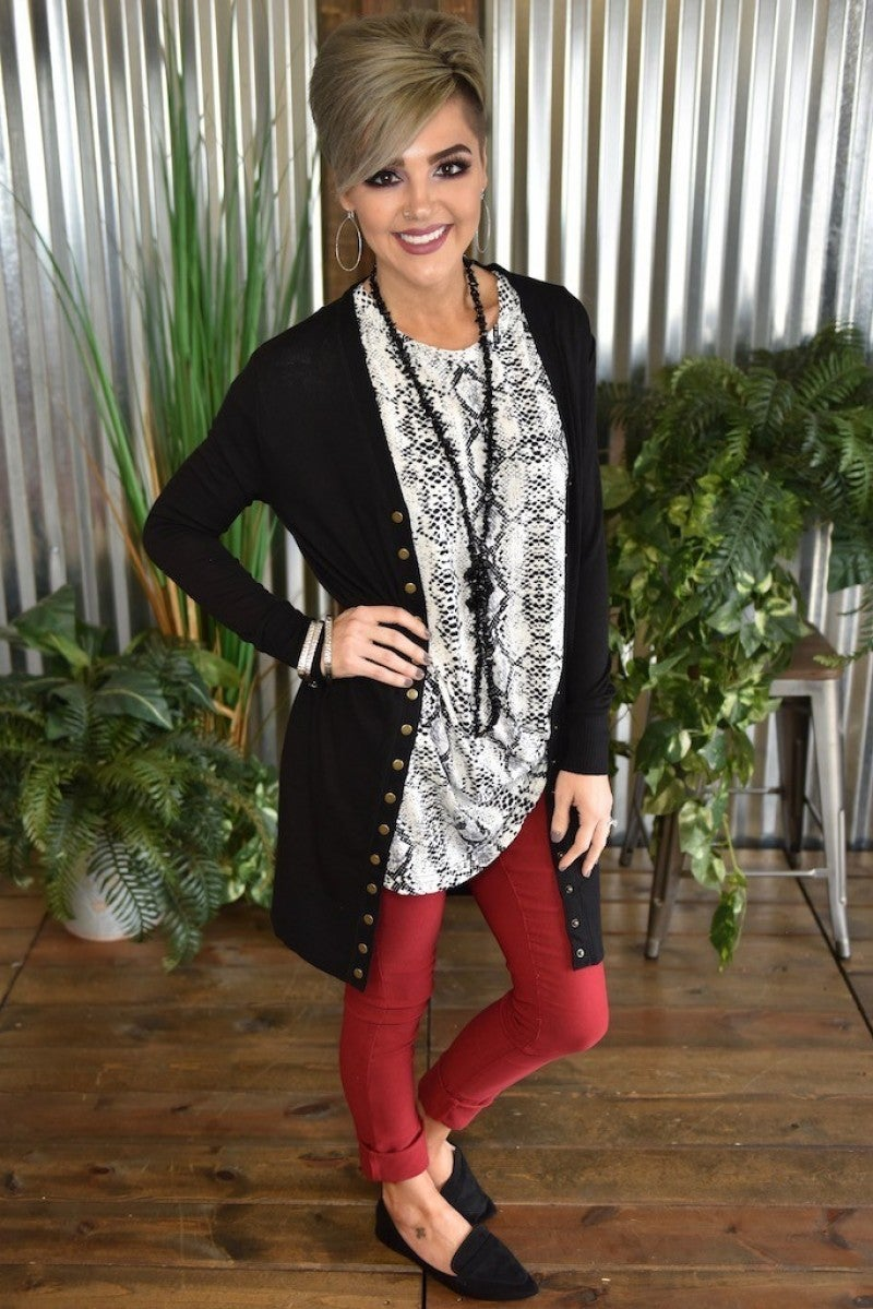 CLEARANCE Long Snap Cardigan