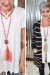Fuchsia Bling Fabric Tassel Necklace
