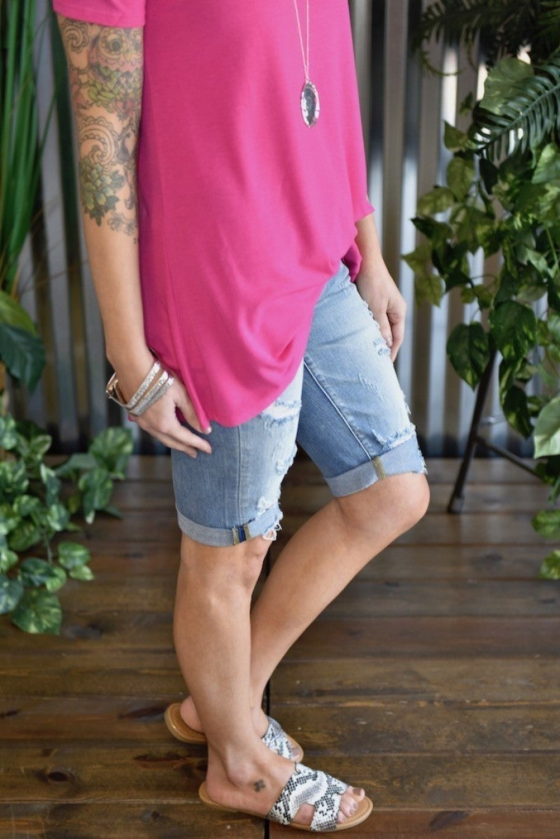 *FINAL SALE* Kan Can Light Wash Bermuda Shorts