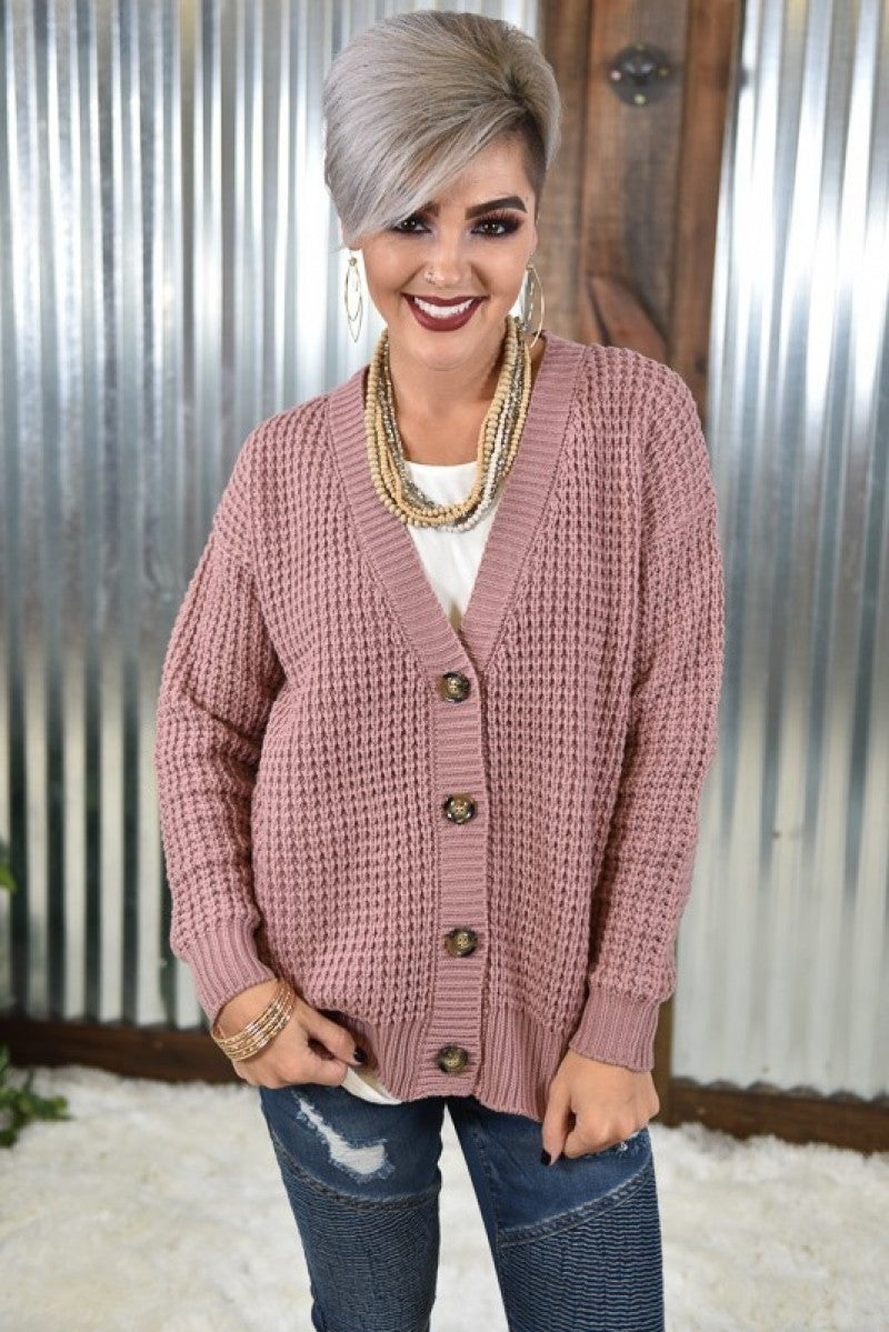 Light Rose Button Cardigan