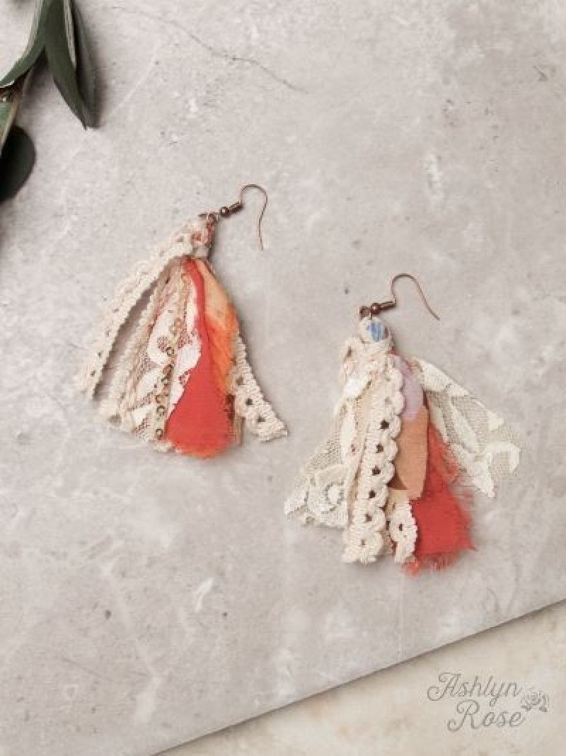 Burnt Orange Autumn All Around Tassel Earrings