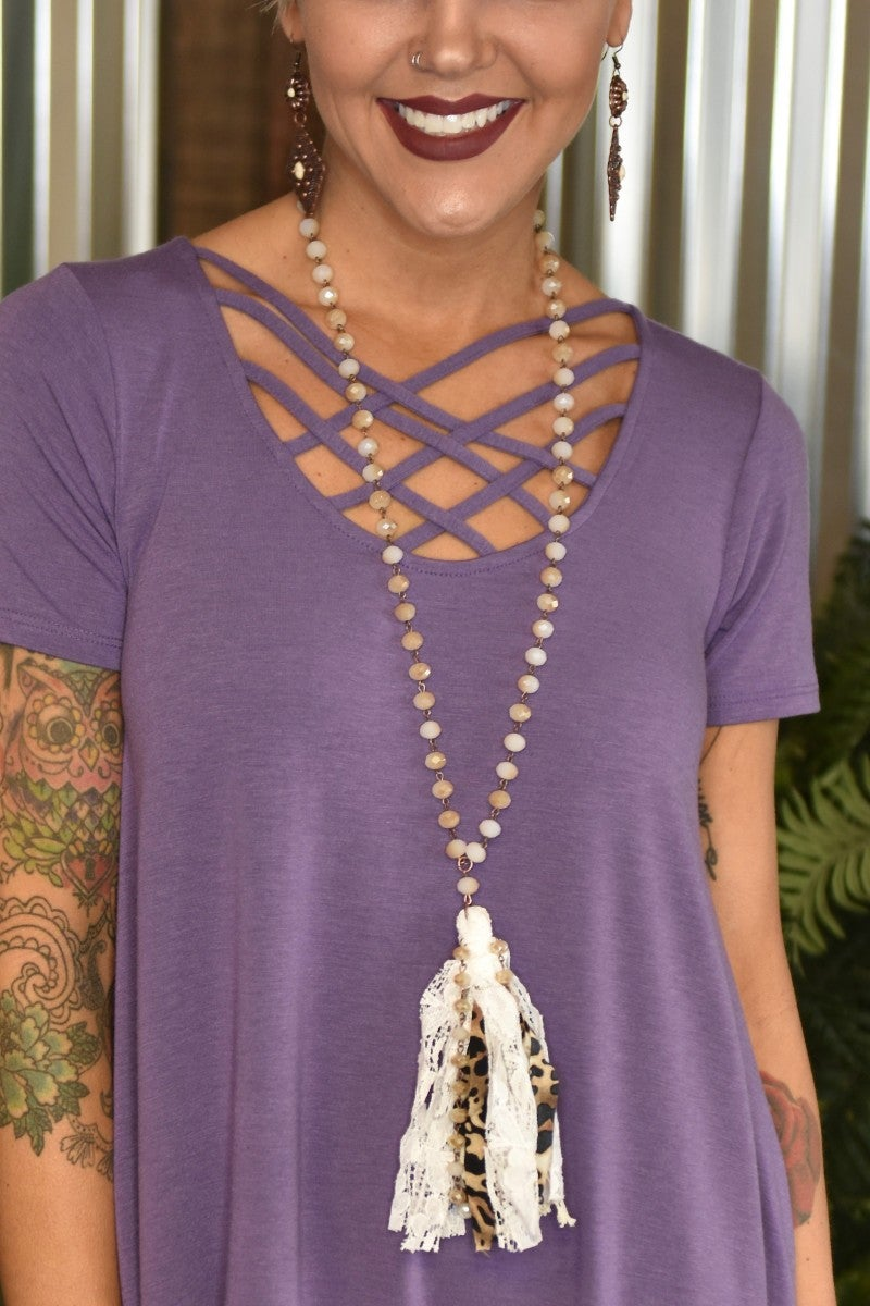 Leopard Fabric & Pearl Tassel Necklace