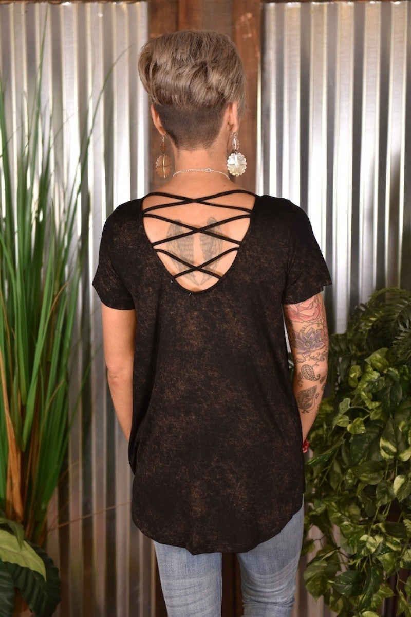Black Caged Back Top