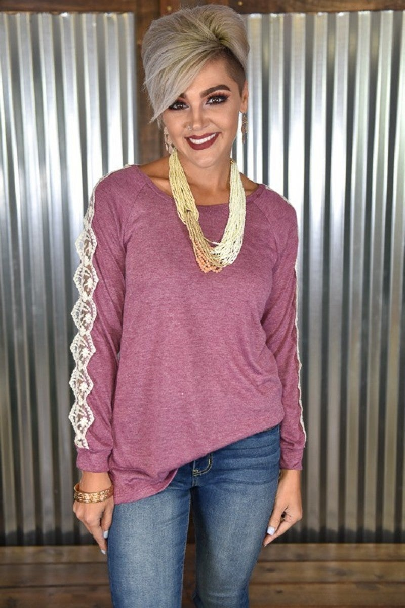 Gwen's Orchid L/S Lace Accent Tee