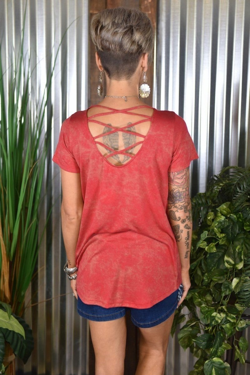 Red Caged Back Top