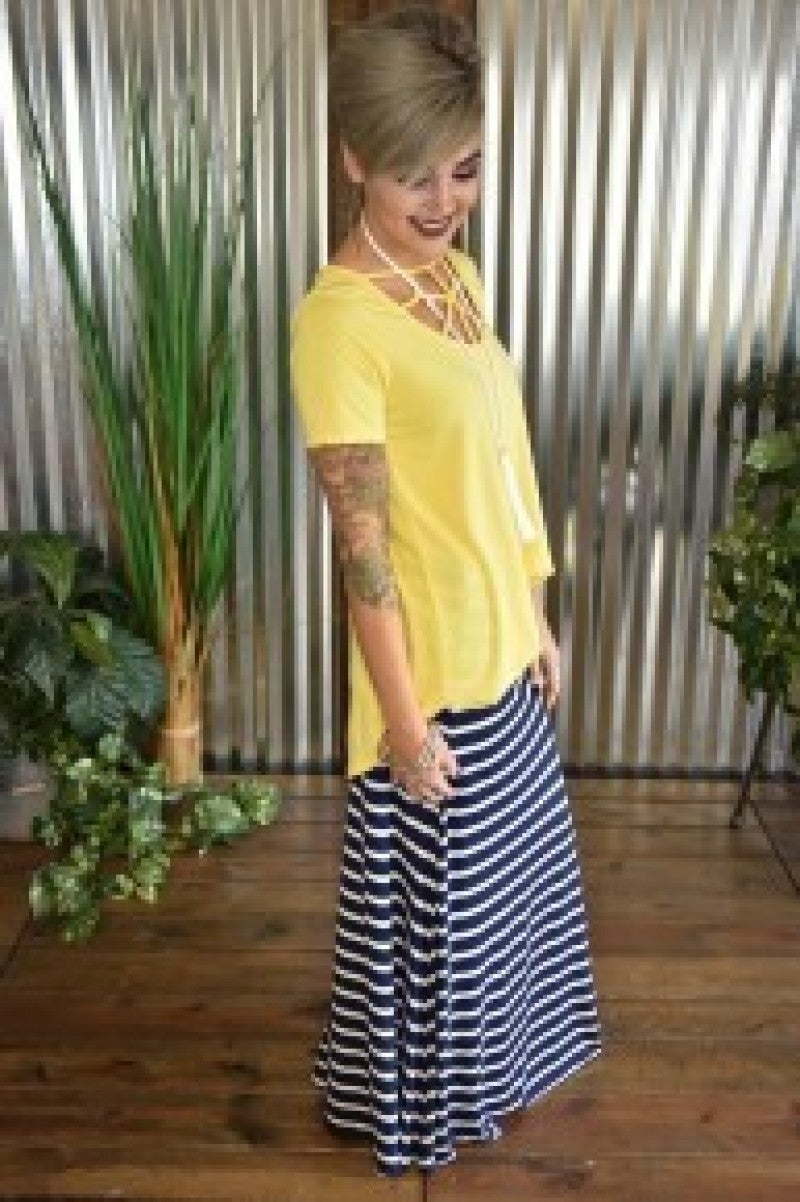 *FINAL SALE* Navy Striped Maxi Skirt