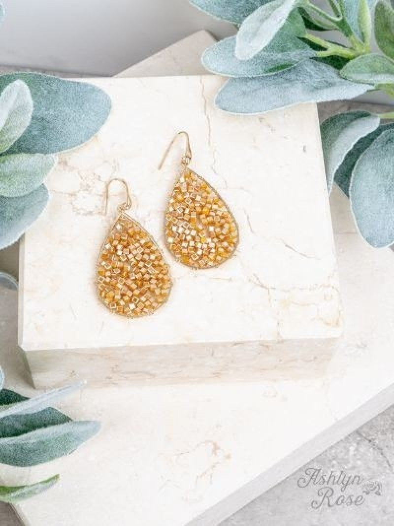 Mustard Dream Weaver Drop Earrings
