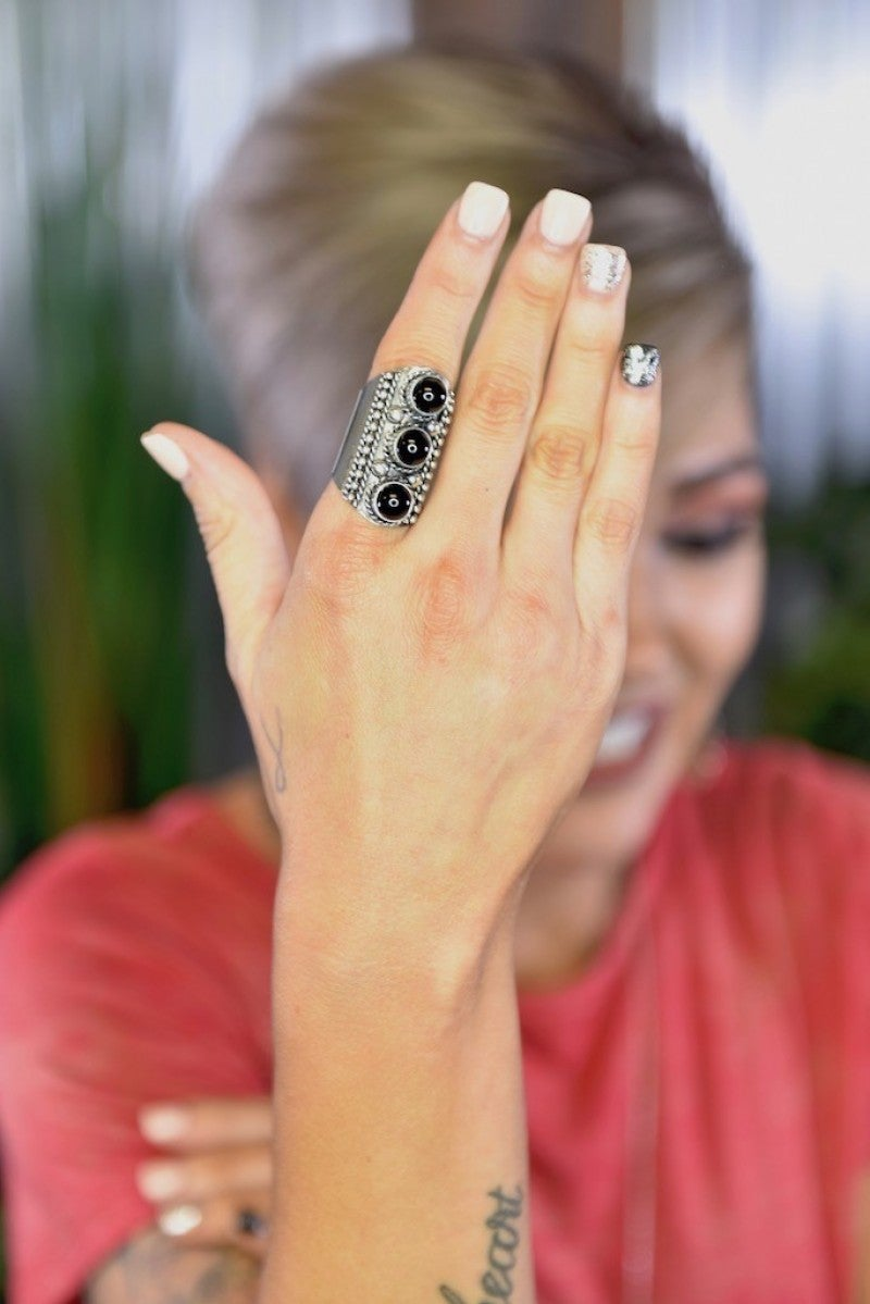 Black Penelope Slide Ring