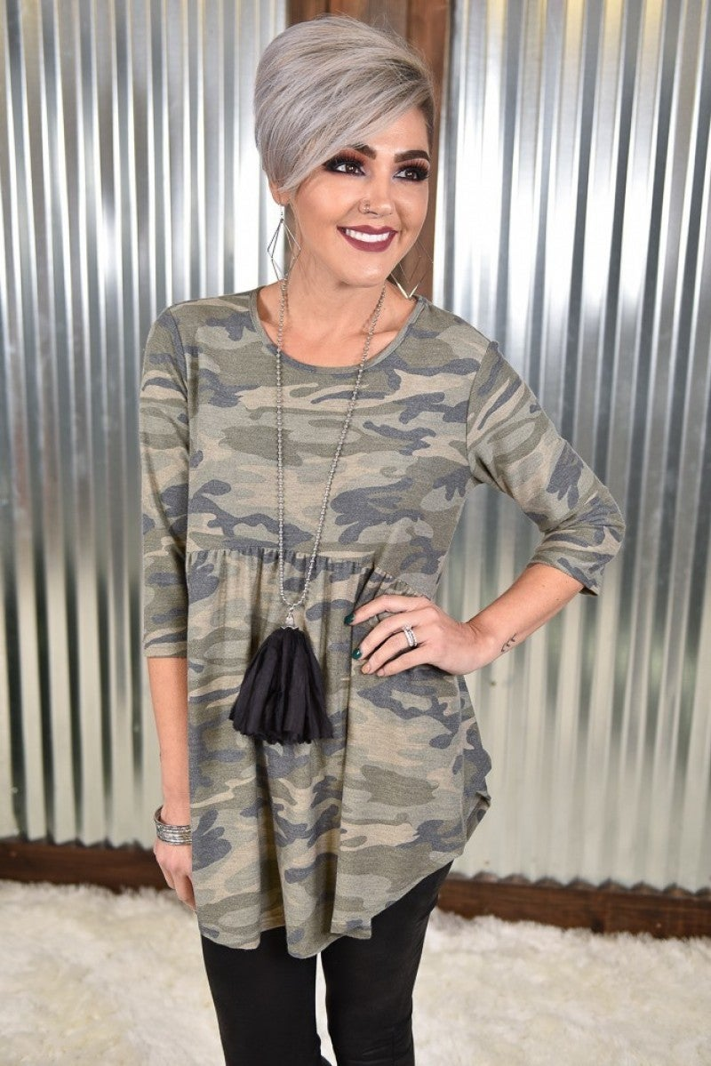 Camo 3/4 Sleeve Babydoll Top