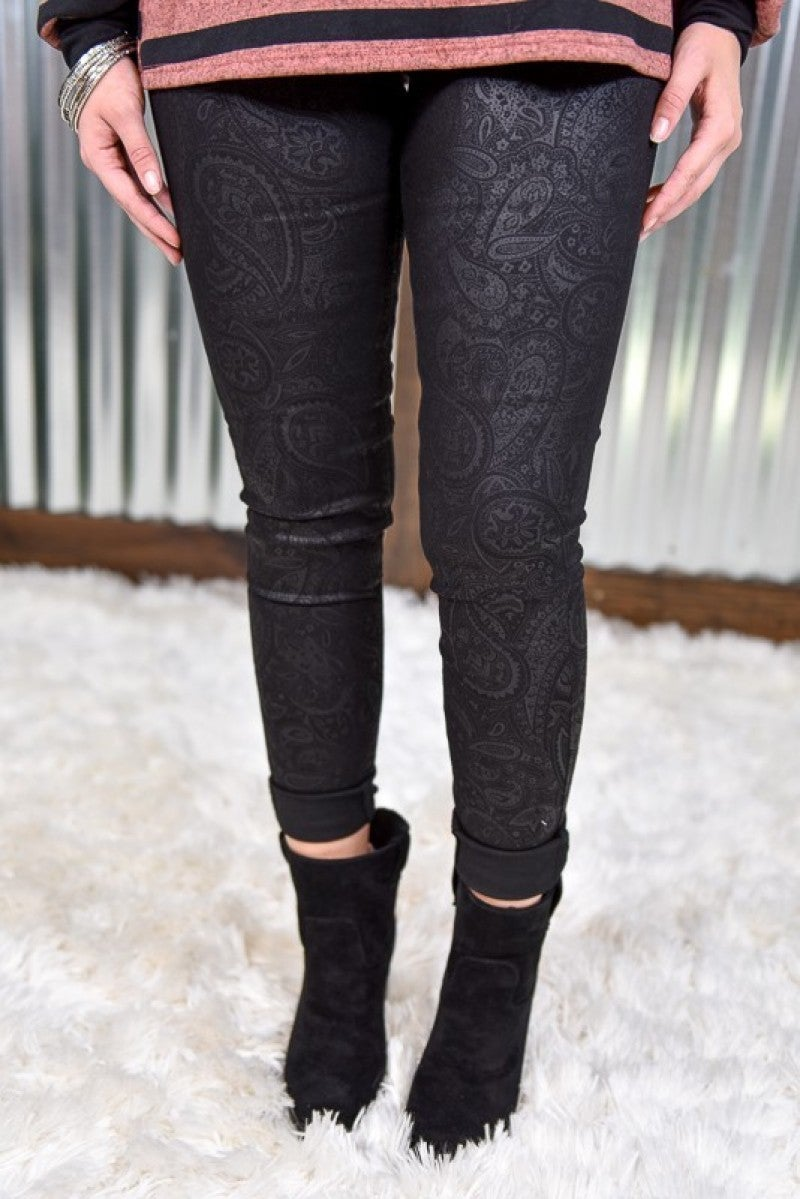 Kan Can Black Paisley High Rise Skinny Jeans