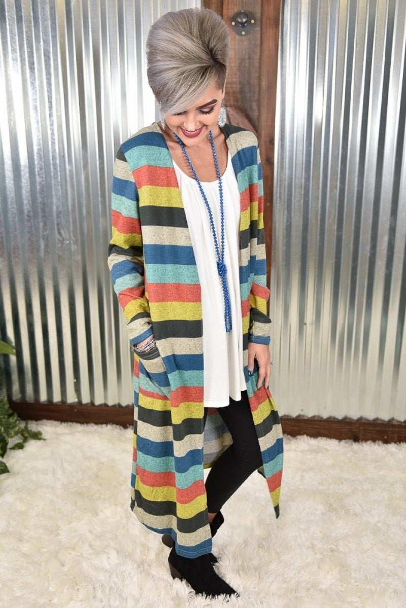 Stripe Up the Band Duster with Pockets