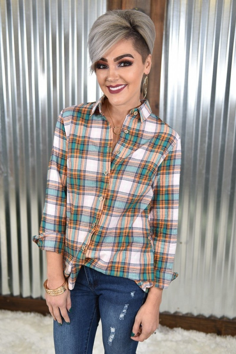 At the Pumpkin Patch Button Down Plaid Top