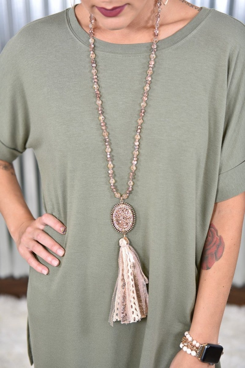 Rose Gold Bling Fabric Tassel Necklace
