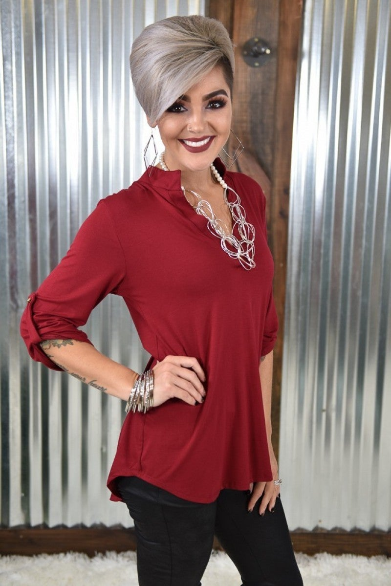 Burgundy V Neck Blouse