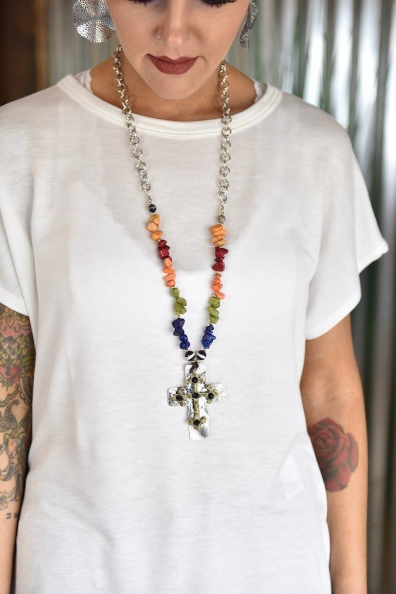 Stone Chip Cross Necklace