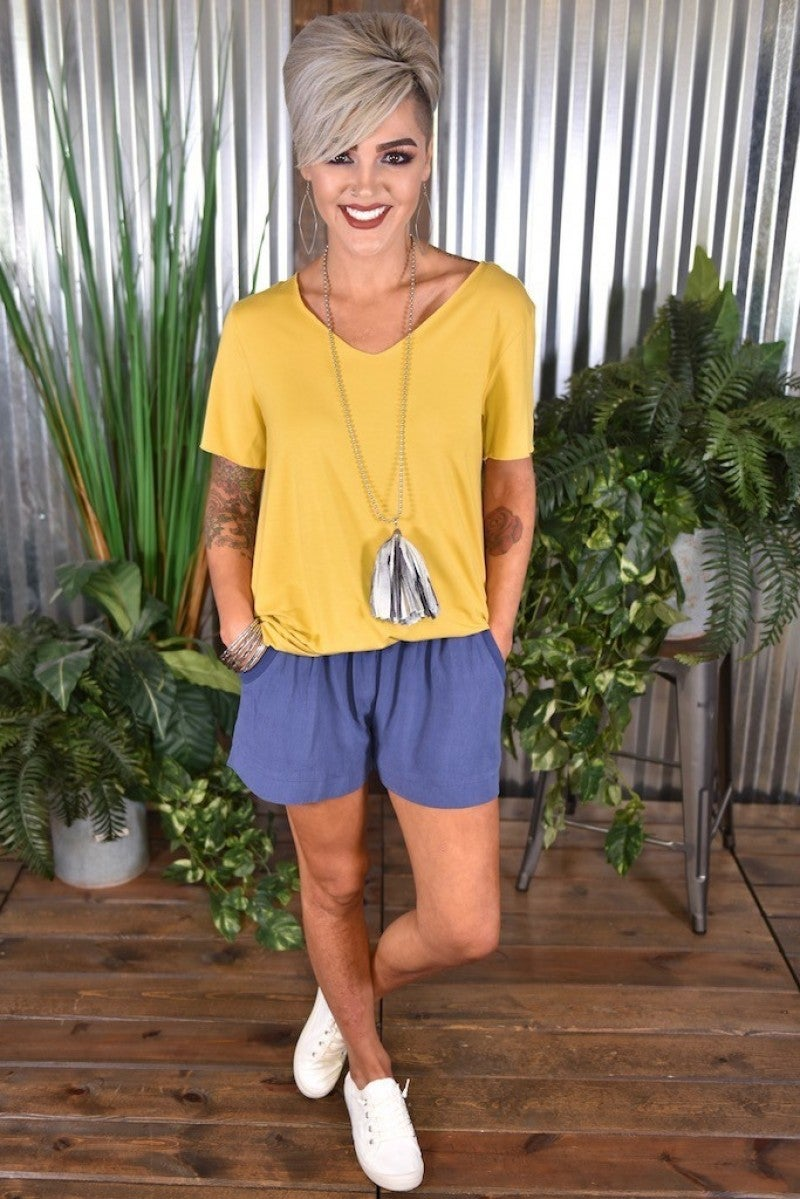 Denim Linen Blend Shorts