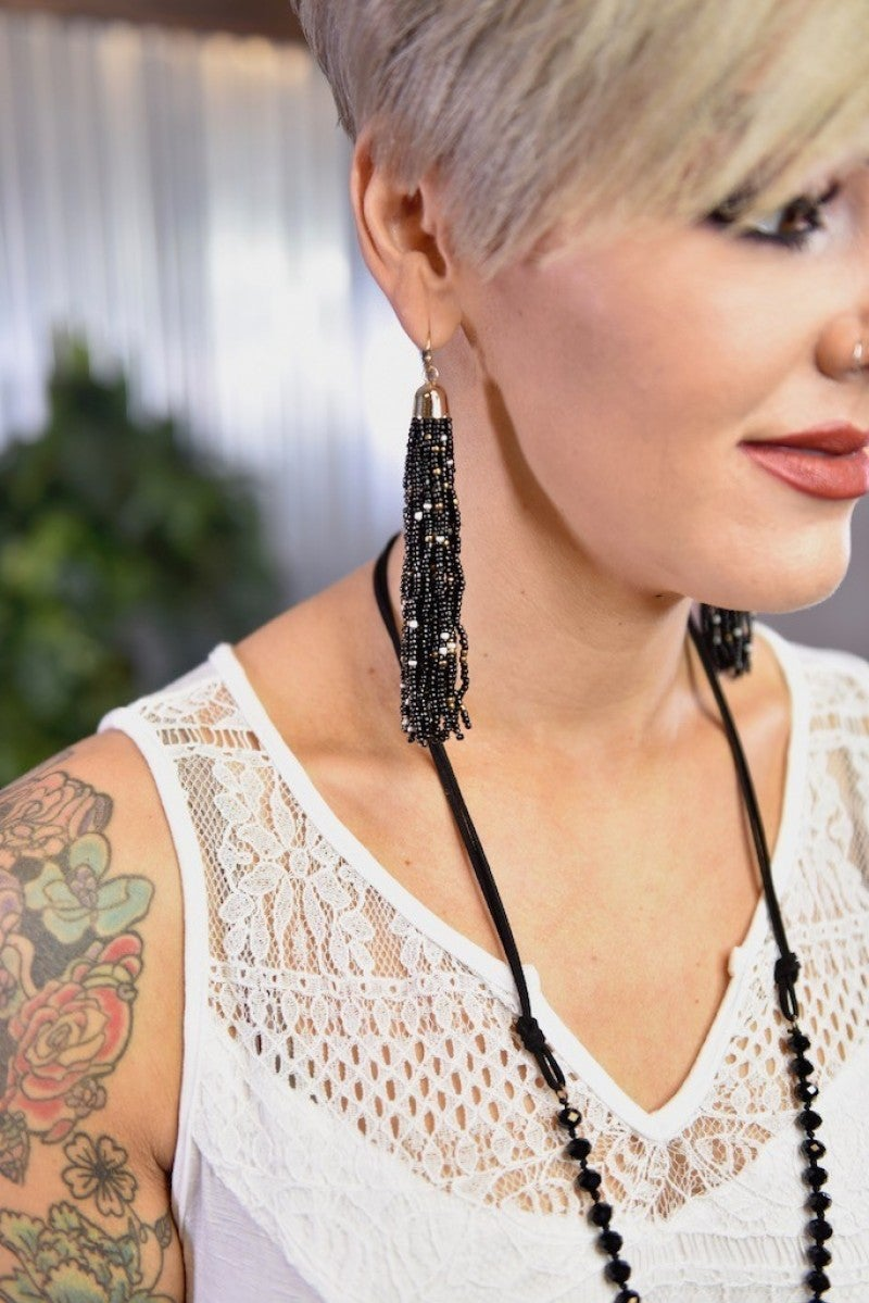 Black Multi Bead Tassel Earrings
